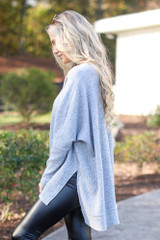 Oversized Brushed Knit Sweater in Heather Grey Side View