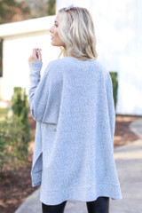 Oversized Brushed Knit Sweater in Heather Grey Back View