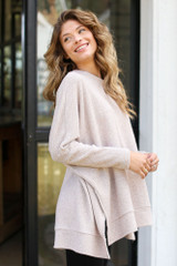 Oversized Brushed Knit Sweater in Taupe Side View