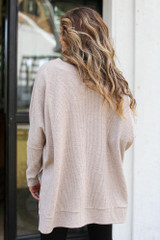 Oversized Brushed Knit Sweater in Taupe Back View