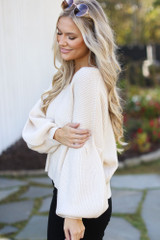 Balloon Sleeve Sweater in Ivory Side View