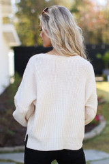 Balloon Sleeve Sweater in Ivory Back View