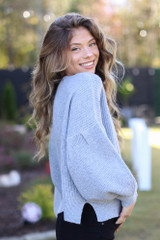 Balloon Sleeve Sweater in Grey Side View