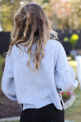 Balloon Sleeve Sweater in Grey Back View