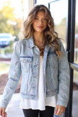 Light Wash - Distressed Denim Jacket