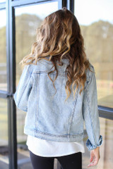 Distressed Denim Jacket Back View