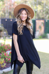 Black - Oversized Asymmetrical Tunic