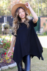 Black - Oversized Asymmetrical Tunic from Dress Up
