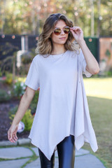 Taupe - Model wearing an Oversized Asymmetrical Tunic