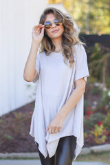 Taupe - Dress Up model wearing an Oversized Asymmetrical Tunic