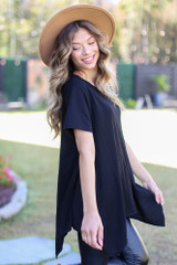 Oversized Asymmetrical Tunic in Black Side View