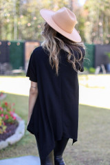 Oversized Asymmetrical Tunic in Black Back View