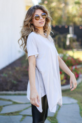 Oversized Asymmetrical Tunic in Taupe Side View