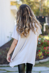 Oversized Asymmetrical Tunic in Taupe Back View