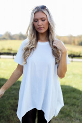 White - Dress Up model wearing an Oversized Asymmetrical Tunic with leggings