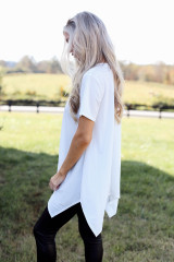 Oversized Asymmetrical Tunic in White Side View