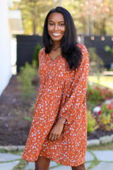 Rust - Floral Babydoll Dress from Dress Up