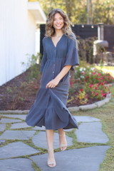 Navy - Linen Button Front Midi Dress from Dress Up