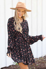 Dress Up model wearing a Floral Dress with a wide brim hat