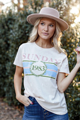 Ivory - Model wearing the Sunday Best Graphic Tee
