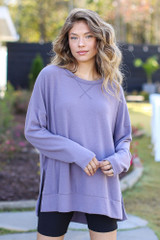 Purple - Oversized Brushed Knit Pullover