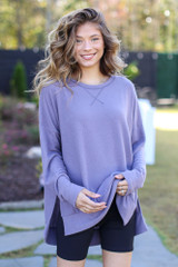 Purple - Oversized Brushed Knit Pullover from Dress Up