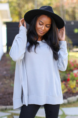 Grey - Model wearing an Oversized Brushed Knit Pullover