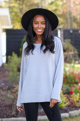 Grey - Dress Up model wearing an Oversized Brushed Knit Pullover