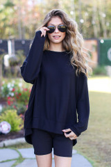 Black - Dress Up model wearing an Oversized Brushed Knit Pullover with biker shorts