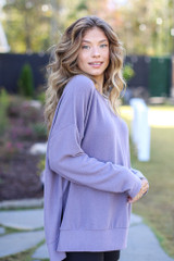 Oversized Brushed Knit Pullover in Purple Side View