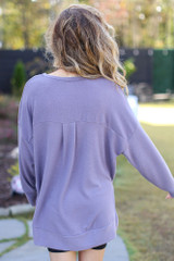 Oversized Brushed Knit Pullover in Purple Back View