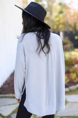 Oversized Brushed Knit Pullover in Grey Back View