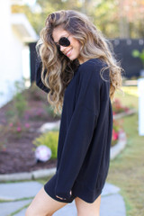 Oversized Brushed Knit Pullover in Black Side View