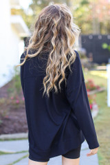 Oversized Brushed Knit Pullover in Black Back View