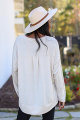 Oversized Brushed Knit Pullover in Taupe Back View