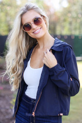 Navy - Dress Up model wearing a Hooded Windbreaker Jacket