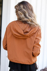 Hooded Windbreaker Jacket in Camel Back View