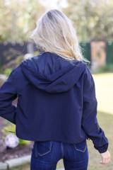Hooded Windbreaker Jacket in Navy Back View