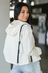 Hooded Windbreaker Jacket in Ivory Back View