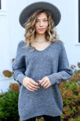 Charcoal - Model wearing an Oversized Brushed Knit Sweater