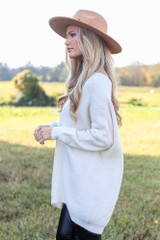 Oversized Brushed Knit Sweater in Ivory Side View