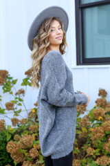 Oversized Brushed Knit Sweater in Charcoal Side View