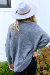 Oversized Brushed Knit Sweater in Charcoal Back View
