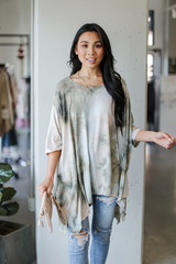 Oversized Tie-Dye Top in Olive Front View