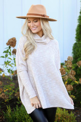 Taupe - Oversized Waffle Knit Sweater from Dress Up