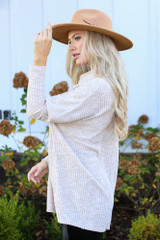 Oversized Waffle Knit Sweater in Taupe Side View