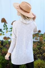 Oversized Waffle Knit Sweater in Taupe Back View