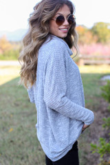 Oversized Waffle Knit Sweater in Heather Grey Side View