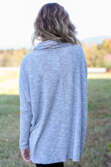 Oversized Waffle Knit Sweater in Heather Grey Back View
