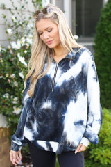 Black - Tie-Dye Quarter Zip Pullover from Dress Up